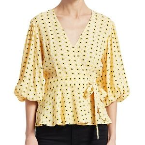 Ganni yellow floral wrap top